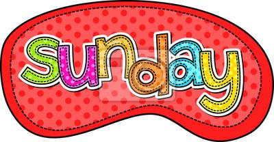 Eine Stichart doodle Schriftbild der Tage der Woche mit dem Tag SONNTAG.
