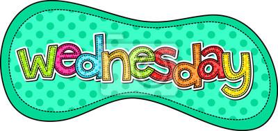 Eine Stichart doodle Schriftbild der Tage der Woche mit dem Tag WEDNESDAY.