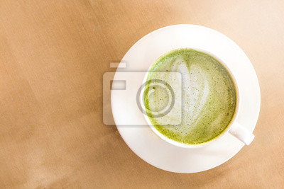 Eine Tasse Grüner Tee Matcha Latte Mit Untertasse Holz Tisch
