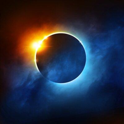 Fototapete Eine totale Sonnenfinsternis. Dramatische Solar-Eklipse-Abbildung.