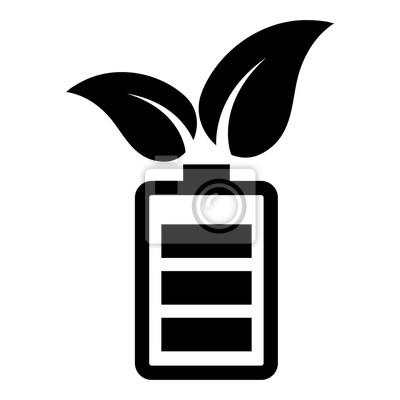 Einfach, flach, schwarz grün / öko-energie-symbol. batterie mit ...