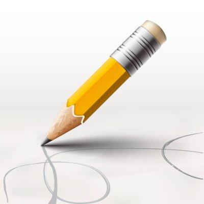 Fototapete Einfache Bleistift auf weißem Hintergrund, Vektor-Illustration eps10.