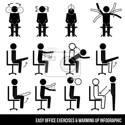 Einfache Büro übungen Aufwärmen Infografik Symbol Vektor Zeichen