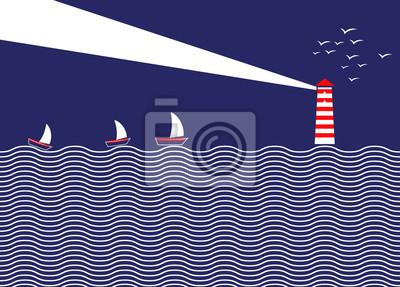 Fototapete Einfache Illustration Leuchtturm und Schiffen. Ein Leuchtturm beleuchtet den Himmel in der Nacht. Auf See, die Schiffe durch den Leuchtturm geführt segeln. Illustration von einem Leuchtturm in der Mit