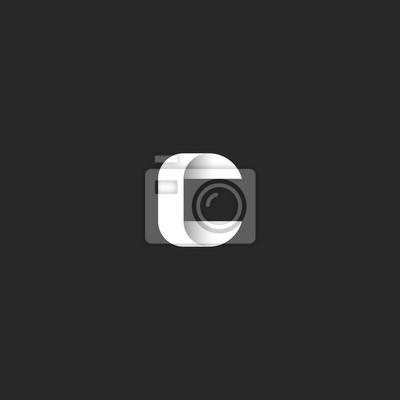 Fototapete Einfache Monogramm Logo C Brief Idee Steigung Hochzeit Einladung  Emblem Mockup, Kreuzung Glatte