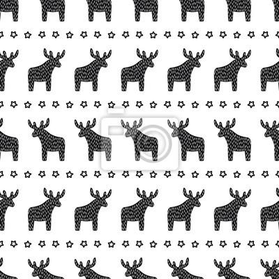 Fototapete Einfache nahtlose retro Weihnachten Muster - Weihnachten Rentier und Sterne. Happy New Year Hintergrund. Winterurlaub Vektor-Design für Textil-, Tapeten-, Web-, Verpackungspapier, Stoff, Dekor usw.