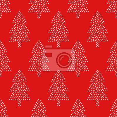 Fototapete Einfache nahtlose Weihnachten Muster - Weihnachtsbäume auf rotem Hintergrund. Happy New Year Hintergrund. Vector Winterurlaub Design für Textilien, Tapeten, Stoff, Tapeten.
