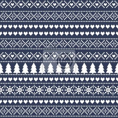 Fototapete Einfache Weihnachten Muster - Weihnachtsbäume, Herzen, Schneeflocken auf blauem Hintergrund. Nahtlose Weihnachten Hintergrund, Karte - skandinavischen Pullover-Stil. Design für Textilien, Tapeten, Gew
