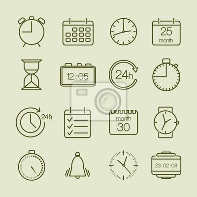 einfache Zeit und Kalender-Icons