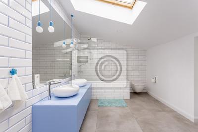 badezimmer dachgeschoss, einfaches badezimmer im dachgeschoss fototapete • fototapeten, Badezimmer