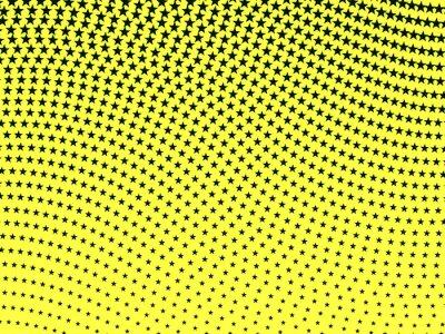 Fototapete Einfaches Retro wellenförmiges Halbtonmuster der schwarzen Sterne auf einem gelben ba