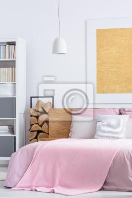 Einfaches rosa schlafzimmer fototapete • fototapeten appartment, auf ...