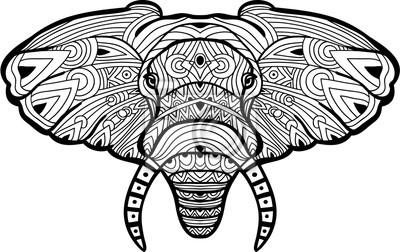 Einfarbige Handgezeichnete Tintenzeichnung Bemalte Elefanten