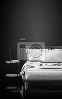 Einfarbiges modernes schwarzes schlafzimmer mit weißem bett ...