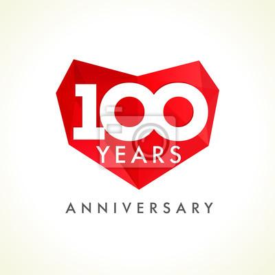 Einhundert jahrestag herz-logo. schablone firmenzeichen des 100 ...