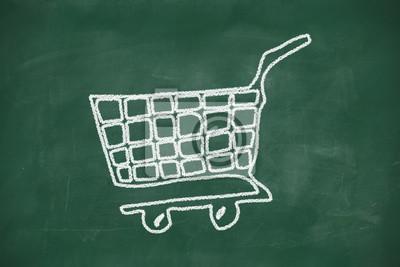 Einkaufswagen-Symbol auf schwarzem Tafel