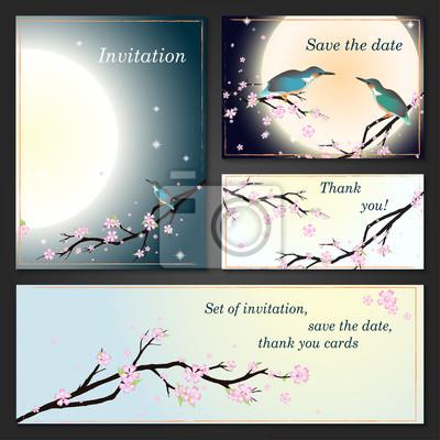 Einladung, save the date-Karten mit stilisierten Kirschblüten.