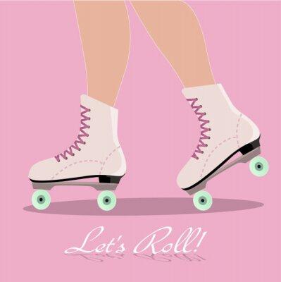 Fototapete Einladungskarte mit Rollschuhe Stiefel