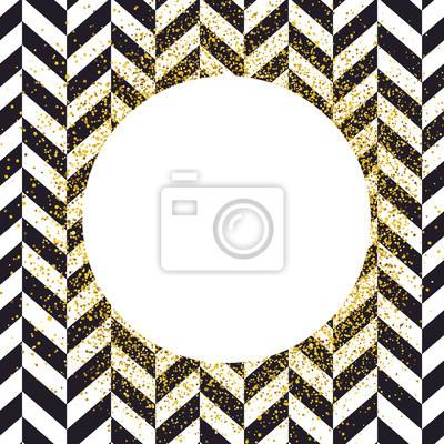 Einladungskartenentwurfsschablone. Chevron schwarzes Muster und goldene chaotische Punkte. Vektor-Einladung Design Hintergrund.