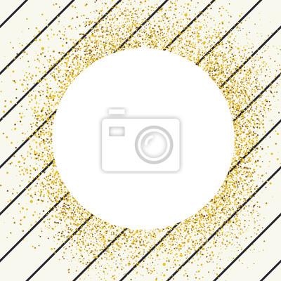 Einladungskartenentwurfsschablone. Diagonale dünne schwarze Linien nahtlose Muster und weißen Kreis geformt copyspace mit goldenen chaotischen Punkte.
