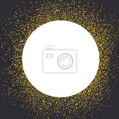 Einladungskartenentwurfsschablone. Schwarzer Hintergrund und weißer Kreis geformt copyspace mit goldenen chaotischen Punkte.