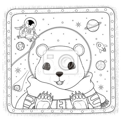 Eisbär Astronauten Malvorlage Seite Fototapete Fototapeten