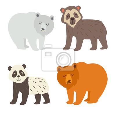 Eisbär, Brillenbär, Panda und Braunbär. Flache Cartoons Vektor-Illustration, isolieren auf weißem Hintergrund