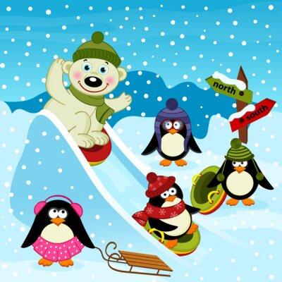 Fototapete Eisbär und Pinguin auf einem Eisschieber - Vektor-Illustration, eps