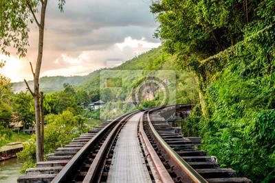 Fototapete Eisenbahngeschichte Weltkrieg II berühmt bei kanchanaburi