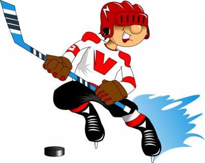 Fototapete Eishockey-Spieler in weiß