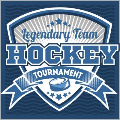 Fototapete Eishockey-Team-Logo-Vorlage. Emblem, Logotype-Vorlage, T-Shirt Bekleidung Design. Sport-Abzeichen für Turnier oder Meisterschaft