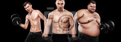 Fototapete Ektomorph, Mesomorph und Endomorph. Vor und nach dem Ergebnis. Sport-Konzept. Gruppe von drei jungen Sport-Männer - Fitness-Modelle hält die Hantel auf schwarzem Hintergrund. Fette, passende und athle