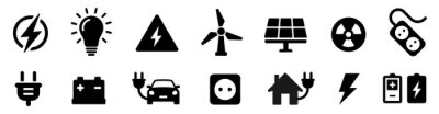 Fototapete Electricity icon set. Collection of green energy icons. Icons for renewable energy, green technology. Flat style icon. Environmental sustainability simple symbol - stock vector.
