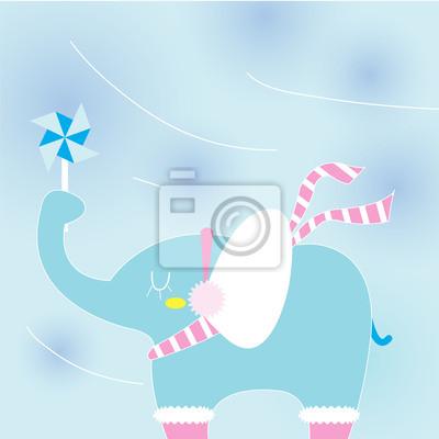 Elefant an einem kalten Tag