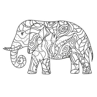 Elefant Design Fur Spirituelle Entspannung Fur Erwachsene Schwarz
