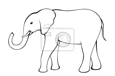 Fototapete Elefanten Schwarz Weiß Isoliert Abbildung Vektor