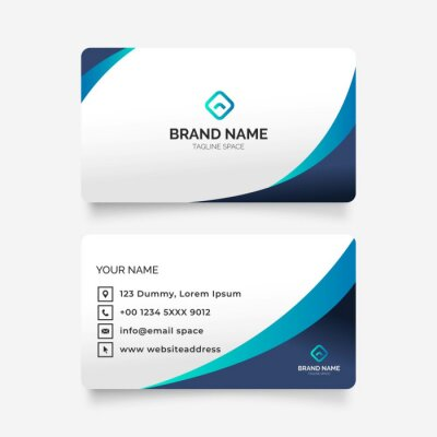 Fototapete elegant abstract modern business card illustration design template blue colors