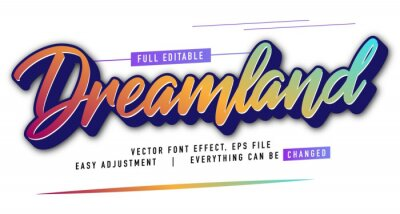 Fototapete elegant and colorful text effect design, full editable vector, easy to adjust to the needs, full color, modern style and fun