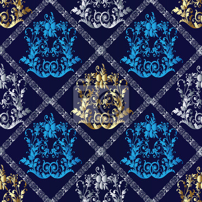 fototapete elegant barock damast blumen vektor nahtlose muster tapeten illustration mit vintage antiken dekorative 3d blumen - Muster Tapeten