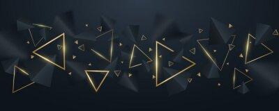 Fototapete Elegant, geometric background of 3d, black and golden triangles. Wallpaper design for template, cover or banner. Decorative, polygonal shapes. Vector illustration