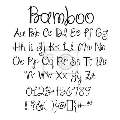 Elegant hand writing font alphabet