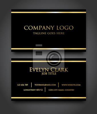 Elegant Schwarz Gold Visitenkarte Vorlage Vektor Fototapete