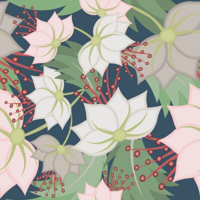Fototapete Elegant vector seamless pattern with lotus flowers. Vintage floral romantic texture. Abstract botanical ornament, natural wallpapers in Asian style. Repeat background design for tileable print, fabric