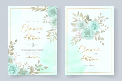 Fototapete Elegant wedding invitation template with turquoise color floral ornament
