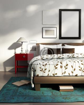 Fototapete Elegante Weiße Luxus Schlafzimmer, Zeitgemäßen Design Blau  Teppich