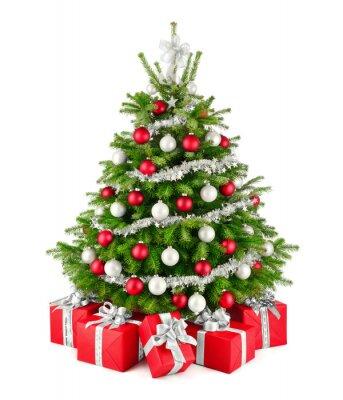 Weihnachtsbaum Silber Weiß.Fototapete Eleganter Weihnachtsbaum Und Geschenke In Rot Weiß Und Silber