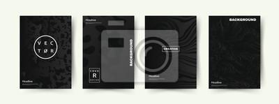 Fototapete Elegantes schwarzes Abdeckungsset. Abstrakte Formen mit Steigungen. Trendiges Design. Vektor Eps10.