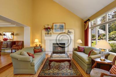 Elegantes Wohnzimmer Interieur Graue Sofas Mit Roten Kissen