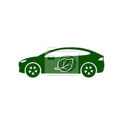 Elektrische auto, bio-kraftstoff, umweltfreundliche fahrzeug-symbol ...