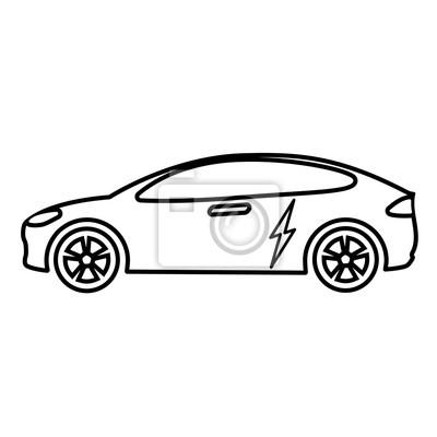 Elektrische auto-linie-symbol vektor-illustration fototapete ...
